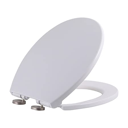 Quiet-Close with Grip-Tight Bumpers,White SAMETU Plastic Elongated Toilet Seat with Lid