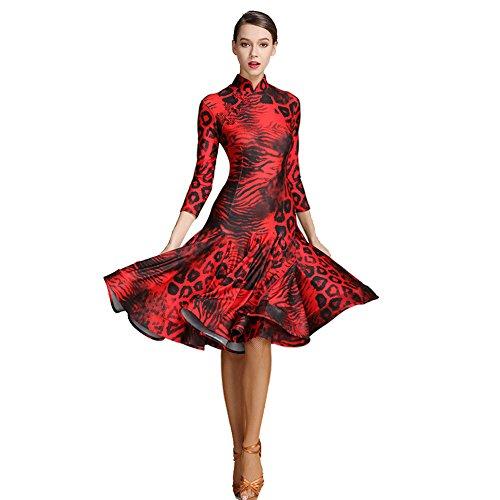 Elegante Spandex Q Collare Bottone Lady red Con Abito ballo Manuale Split Ballroom jiu Fork Slim m Dance Retrò BQCerWdxoE