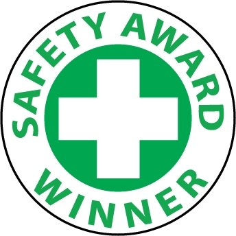 NMC HH53 2'' x 2'' PS Vinyl Hard Hat Emblem w/Legend: ''Safety Award Winner'', 12 Packs of 25 pcs
