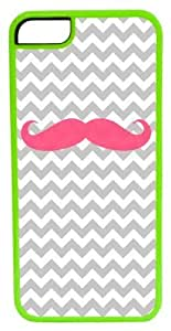 CellPowerCasesTM Pink Mustache ChromaLuxe Green Case for iPhone 5c (5c V2 Green Case)