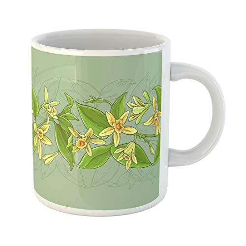 (Semtomn Funny Coffee Mug Aroma Vanilla Vector Pattern Aromatic Background Bean Bloom Blossom Botany 11 Oz Ceramic Coffee Mugs Tea Cup Best Gift Or)