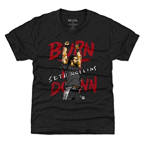 - 500 LEVEL Seth Rollins Youth Shirt (Kids Large (10-12Y), Tri Black) - WWE Boys Clothes - Seth Rollins Burn It Down WHT