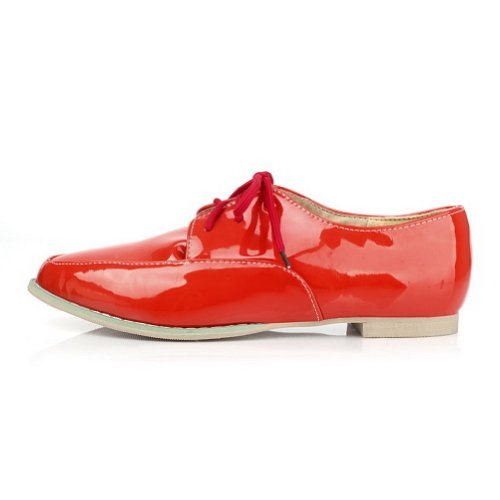 AmoonyFashion Womens Closed Pointed Toe Low Heel Patent Leather PU Material Solid Pumps Red BdaEp