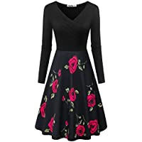 Yeslife Women's V-Neck Long Sleeve Pockets Floral Print Swing Casual Dress Floral-08 S