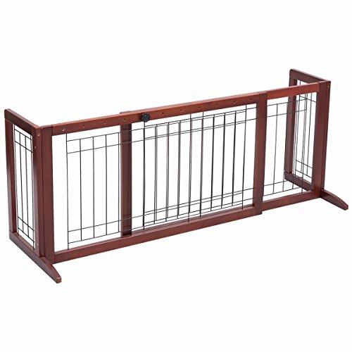 Safstar Adjustable Freestanding Wooden Pet Dog Gate Solid