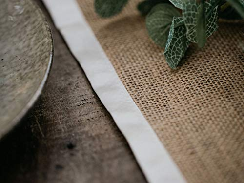 3 X Pack Burlap Table Runner - Natural Burlap Fabric Runner, Soft Ribbon Edging - 12 X 108 inch - Textured Jute Table Runners to Inspire a Rustic Relaxed Elegance for Dining, Farmhouse, Wedding - 🌿INSTANT RUSTIC SOPHISTICATION: No more boring, basic events with this perfect rustic table runner. They will warm up your festivities with a zesty energy and create a relaxed atmosphere with an earthy feel. 🌿PREMIUM DESIGN – THICK WEAVE/SEWN EDGES: Made from 100% natural fiber, the thick high density weave creates a durable and sturdy table runner. The edges are sewn with high quality soft ribbon which highlights the rich golden brown burlap fabric. The ends are finished in natural over-lock stitch making them fray-resistant. 🌿AMAZING VERSATILITY: Our burlap table runners are perfect for kitchen decor, rustic wedding decor, backdrops, centerpiece displays, dining table runner, fireplace mantels, holiday table runner, banquet tables, boho table runner, baby showers, farmhouse coffee table runner, burlap tree wrap, folded for a small table runner, family reunions, or a spacious farmhouse decor display. Let your creative juices flow - try adding flowers, garlands or candles for a focal point – relax and enjoy. - table-runners, kitchen-dining-room-table-linens, kitchen-dining-room - 411yAcDdrNL -