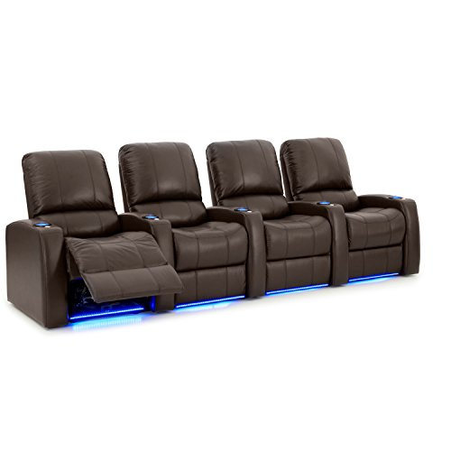 Octane Seating Blaze XL900 Home Theater Chairs Brown Top-Grain Leather - Power Recline - Accessory Dock for Tray Tables - Straight Row of 4