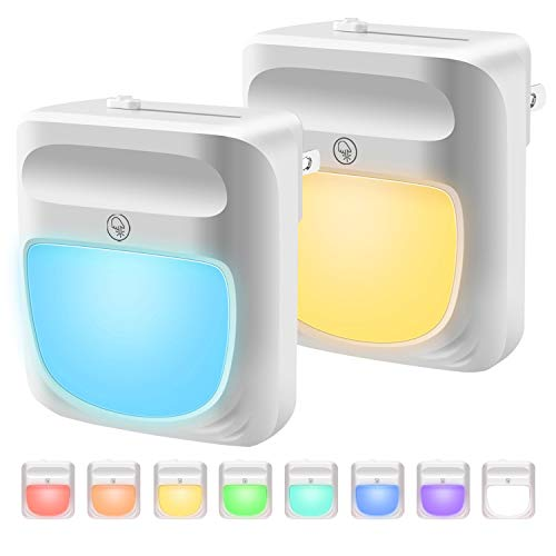 Plug-in Night Light for Kids Dimmable - RGB Color Changeable LED Nightlight with Dusk to Dawn Sensor, Warm White Night Lamp for Baby Room, Bedroom, Hallway, Kitchen, Bathroom, Stairs (RGB 2PC)
