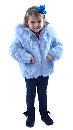 Children's Rabbit Fur Jacket with Fox Fur Trimmed Hood by Henig Furs