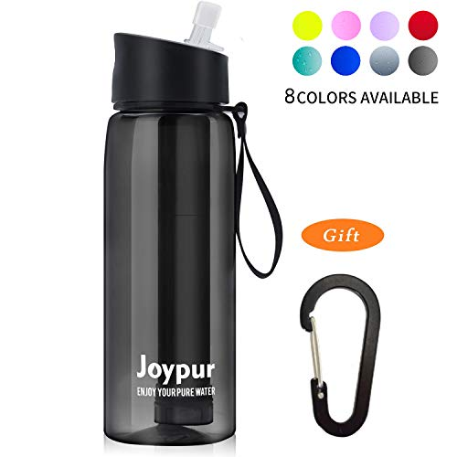 joypur Outdoor Filtered Water Bottle – Camping Water Filter with 3-Stage Integrated Water Purifier for Travel Hiking Backpacking Black