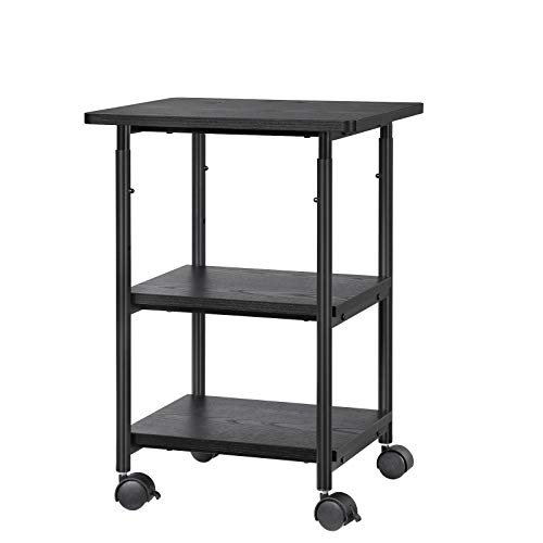 (SONGMICS Adjustable Printer Stand Desk Mobile Machine Cart with 2 Shelves Heavy Duty Storage Trolley for Office Home Black)