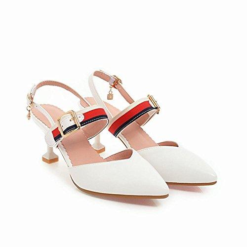 YE Damen Spitze High Heels Sandalen Geschlossen Slingback Stilettos Pumps mit Riemchen und Schnalle 5CM Absatz Sommer Schuhe Weiß