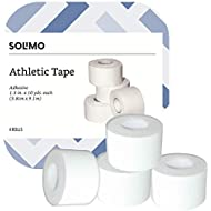 """Amazon Brand - Solimo Athletic Tape, 1.5"""" x 10 yd Roll (4 Pack)"""