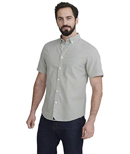 UNTUCKit Amontillado - Men's Button Down Shirt Short Sleeve, Wrinkle-Free, Lime Green, Navy & White Check, Small Slim Fit