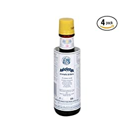 Angostura Bitters, 4-Ounce Bottles (Pack of 4) 1 Pack of four, 4-ounce bottles (total of 16-ounces) Highly concentrated beverage flavoring Unique blend of natural herbs and spices