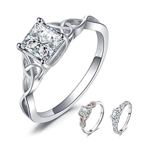 Sterling Silver Princess Cut Solitaire - JewelryPalace Celtic Knot 1.7ct Princess Cut Cubic Zirconia Solitaire Engagement Ring 925 Sterling Silver size 8