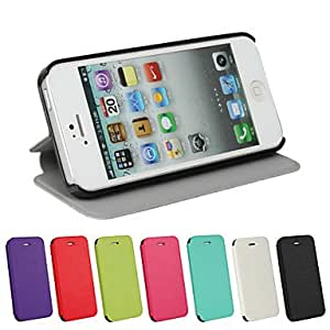 DD PU Leather Magnetic Ultra-thin Flip Cover Wallet Card Slot Case Stand Skin Case for iPhone 5/5S(Assorted Colors) , Red