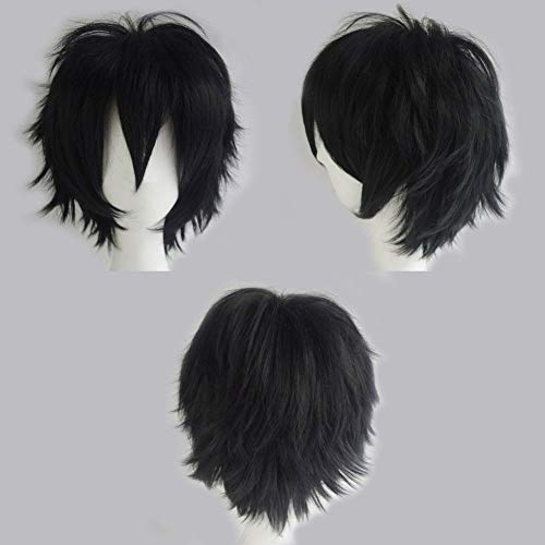 2-5 Days Delivery Unisex Japanese Anime Cosplay Wigs black Synthetic Short Full Party Costume Wig Layered with Bangs and Cap Halloween Wigs for Women Men Girl Boy Teens (black)]()