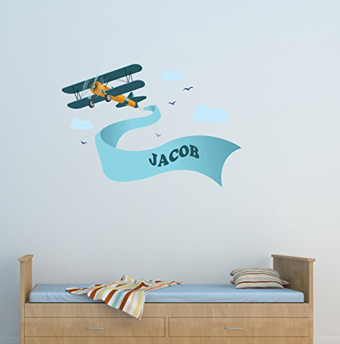 Airplane Wall Decals - Custom Boy Name Wall Decor - Nursery Wall Decals - Vinyl Art Decor For Kids Room - Airplane Clouds Vinyl Sticker - Nursery Bedroom Decor Art Murals by ManukaDesigns
