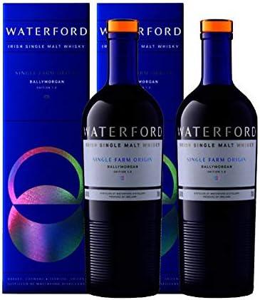 Whisky - Waterford Single Malt Whisky BallyMorgan 1.2 de 70 cl - Elaborado en Irlanda - Qantima Group (Pack de 2 botellas)