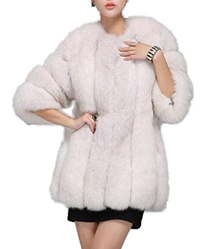 GESELLIE Women's Thick Faux Fur Fluffy Luxurious Plus Size Warm Outwear Coat White by GESELLIE