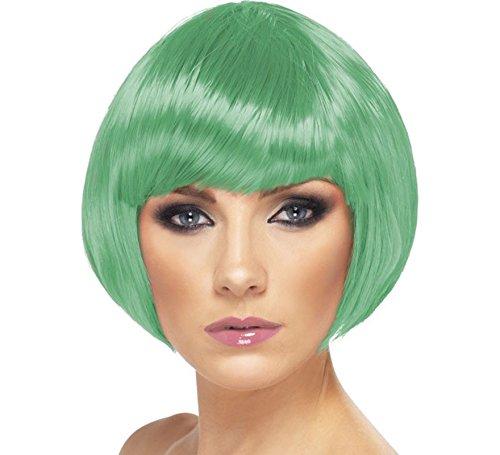 - Smiffy's Women's Babe Wig Short Bob with Fringe (One Size, Dark Green)