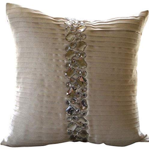 (Luxury White Decorative Pillows Cover, Pintucks & Crystals Textured Pillows Cover, 18
