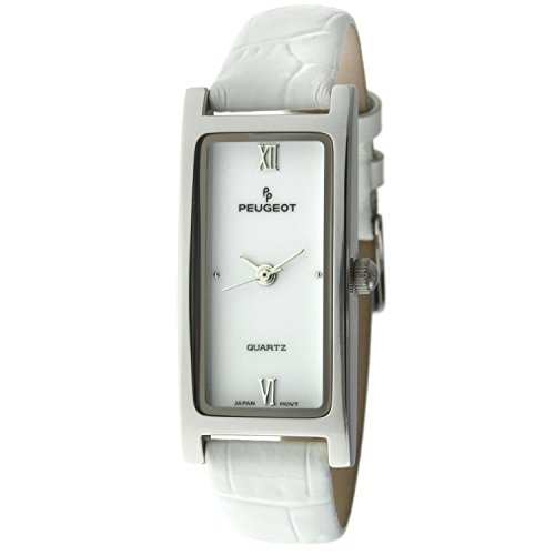 Peugeot 355WT Women's Rectangular Silver-Tone White Leather Strap Watch
