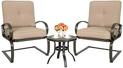 Ulax furniture 3 Pcs Outdoor Bistro Set Patio Springs Action Chairs Conversation Set with Cushions Beige