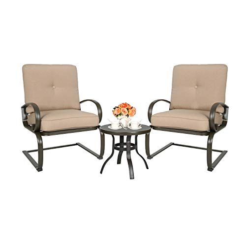 Spring Lounge Chair Seat - Ulax furniture 3 Pcs Outdoor Bistro Set Patio Springs Action Chairs Conversation Set with Cushions (Beige)
