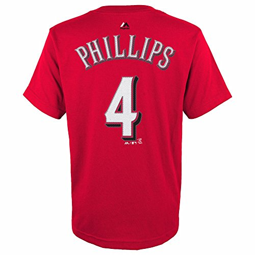 Brandon Phillips Cincinnati Reds MLB Majestic Red Player Name & Number Jersey T-Shirt For Youth (XL)