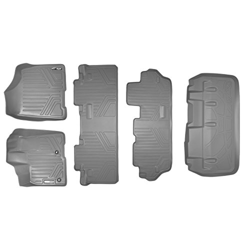 MAXFLOORMAT Floor Mats (3 Rows) and MAXTRAY Cargo Liner Behind 3rd Row Set Grey for 2013-2018 Toyota Sienna 8 Passenger Model Only