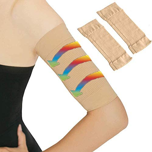 Arm Slimming Shaper for Women, Arm Compression Wrap Sleeve, Weight Loss Upper Arm Shaper, Helps Lose Arm Fat Toneup Arm Shaping Sleeves for Beauty Women 2 Pair (Beige) 1