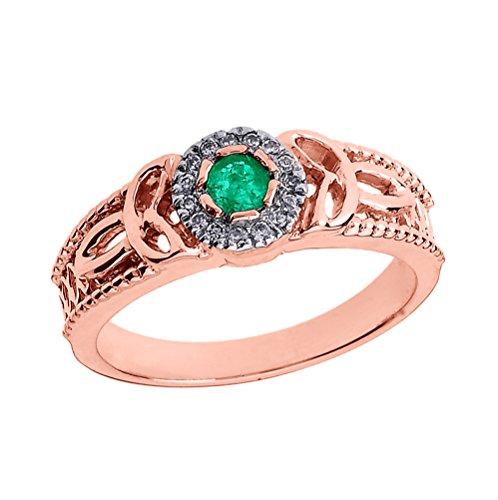 Bague Femme/ Bague De Fiançailles 14 Ct Or Rose Emeraude Et Diamant Trinité Nœud