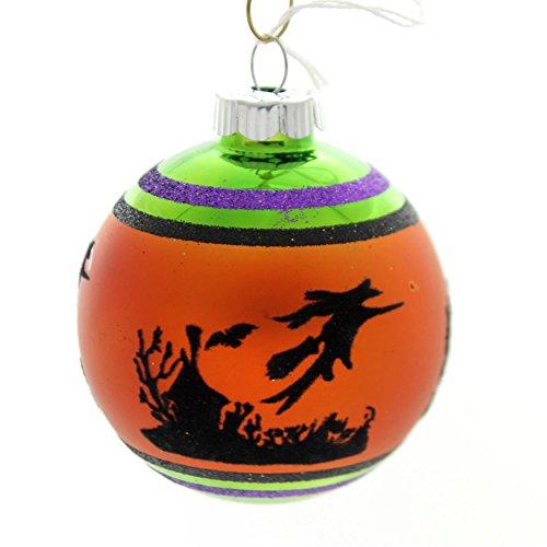 Shiny Brite Halloween Signature Flocked. Glass Ornament Ball 4026976S E ()