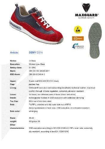 Maxguard DEMY D374, Unisex-Erwachsene Sicherheitsschuhe, Rot (Rot), 37 EU