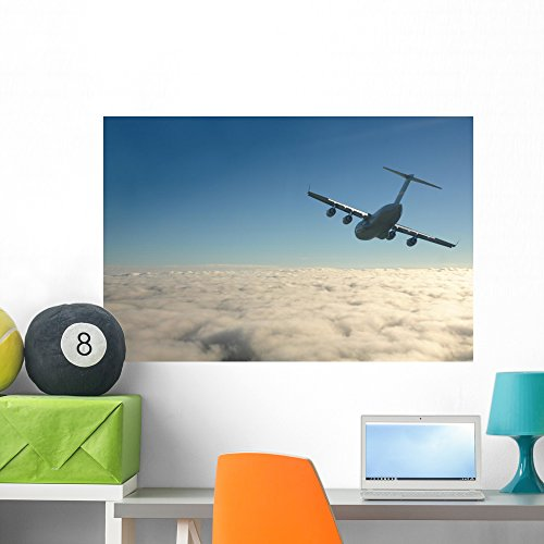 (Wallmonkeys Airplane Flight Wall Mural Peel and Stick Graphic (36 in W x 24 in H) WM245132)