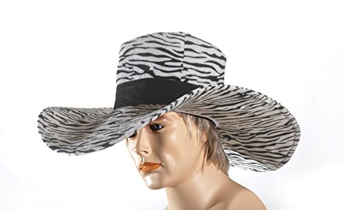 Loftus Men Zebra Pimp Wide Brim Big Daddy Costume Hat, Black White, One-Size