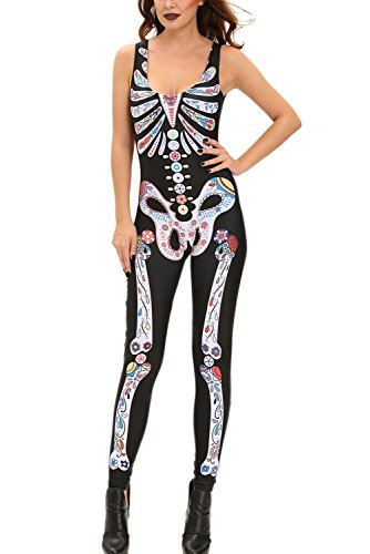 Dear-Lover Womens Sugar Skull Print Jumpsuits Catsuit Costume Medium Black (Sugar Skull Cat)