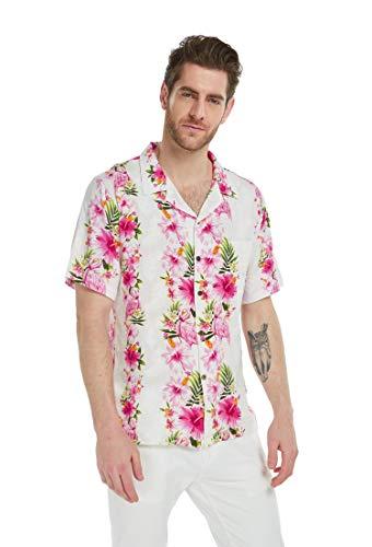 Hawaii Hangover Men's Hawaiian Shirt Aloha Shirt L Pink Hibiscus Vine