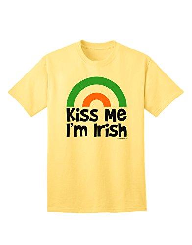 (TooLoud Irish Flag Rainbow - Kiss Me I'm Irish Adult T-Shirt - Yellow - 2XL)