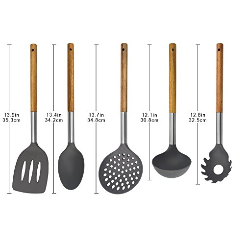 KALREDE Kitchen Utensils Set 5 Piece - Non Stick Nylon Cooking Utensils Set –Heat Resistant Kitchen Tools Set with Wooden Handle including Spatula, Pasta Server, Deep Ladle, Strainer and Spoon( Gray by KALREDE (Image #2)