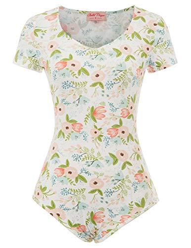 Thong Bodysuit Tops for Women Plus Size V Neck Bodysuit Leotards, Floral-1, X-Large -