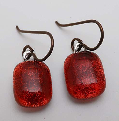 Petite Caramel cinnamon fused dichroic glass earrings Hypoallergenic Niobium Ear wires (Jewelry Fused Glass Dichroic)