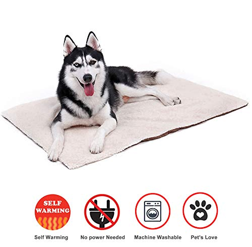 (Thermal Bed Mat - Self Warming Soft Pet Cushion Pad for Dogs & Cats - No Power or Batteries Needed - Great for Use in Cold Weather (18×23 Inches, 2 Packs))