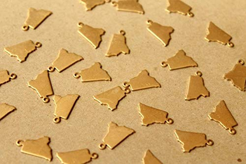 8 pc. Raw Brass Rhode Island State Charms/Blanks: 9mm by 14mm