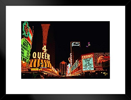 - Poster Foundry Vintage Neon Signs of Fremont Street Las Vegas Nevada Photo Art Print Matted Framed Wall Art 26x20 inch