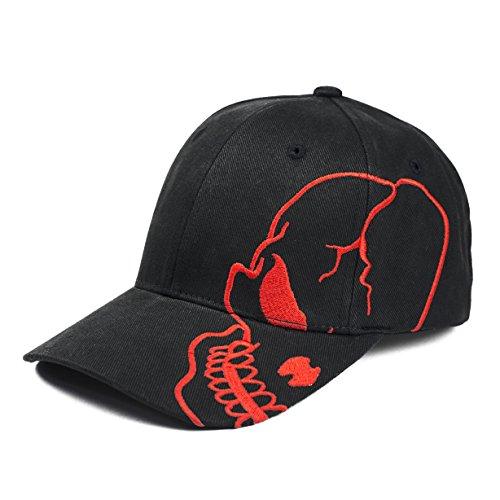 Skull Skeleton Cotton Adjustable Baseball Cap - Black/Red ()