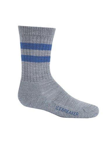 (Icebreaker Merino Kids' Hiking Crew Socks, New Zealand Merino Wool, Twister Heather/Sea Blue, Large)