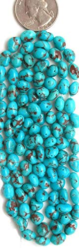 - Blue Egyptian Turquoise Rounded Potato Nugget Beads, (pkg of 5 Beads)
